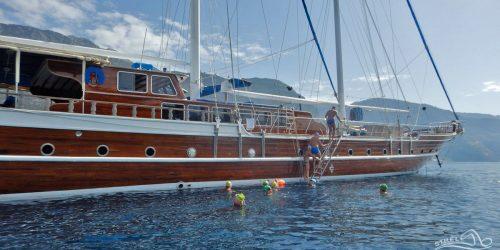 Turkish gulet swimming